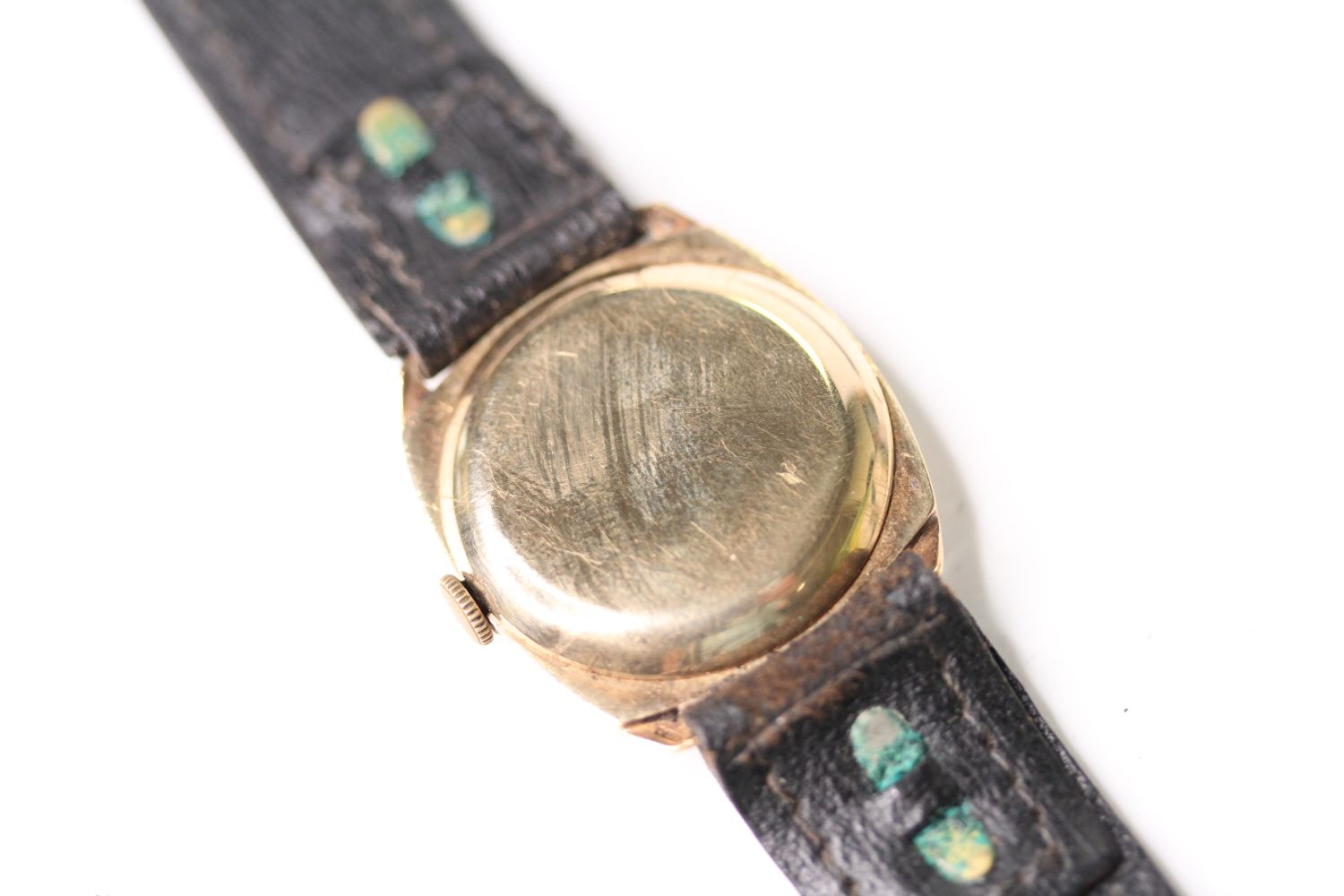 9CT GOLD TRENCH WRISTWATCH, circular silver dial with arabic numbers, small seconds at 6 0'clock, - Image 3 of 5