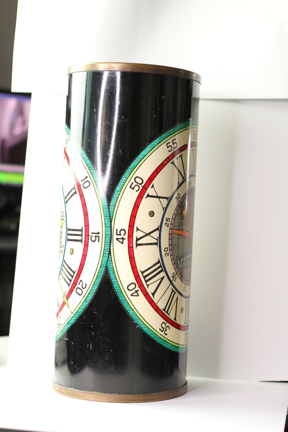 Vintage Fornasetti umbrella stand, lacquer finish with watch face design, sticker to base, - Image 2 of 4