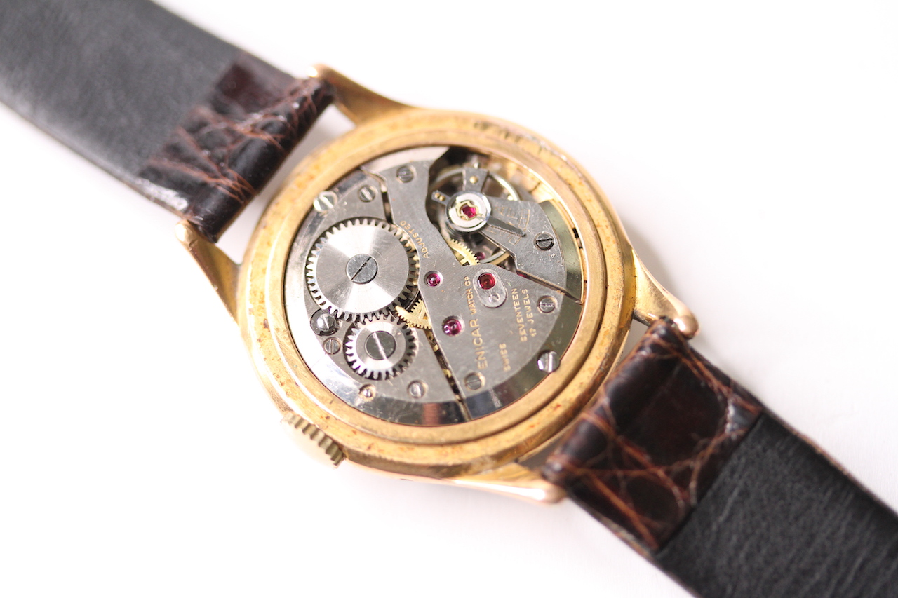 VINTAGE ENICAR TRIPLE CALENDAR MOONPHASE CIRCA 1940S, gilt dial, day / month apertures, moon - Image 4 of 4