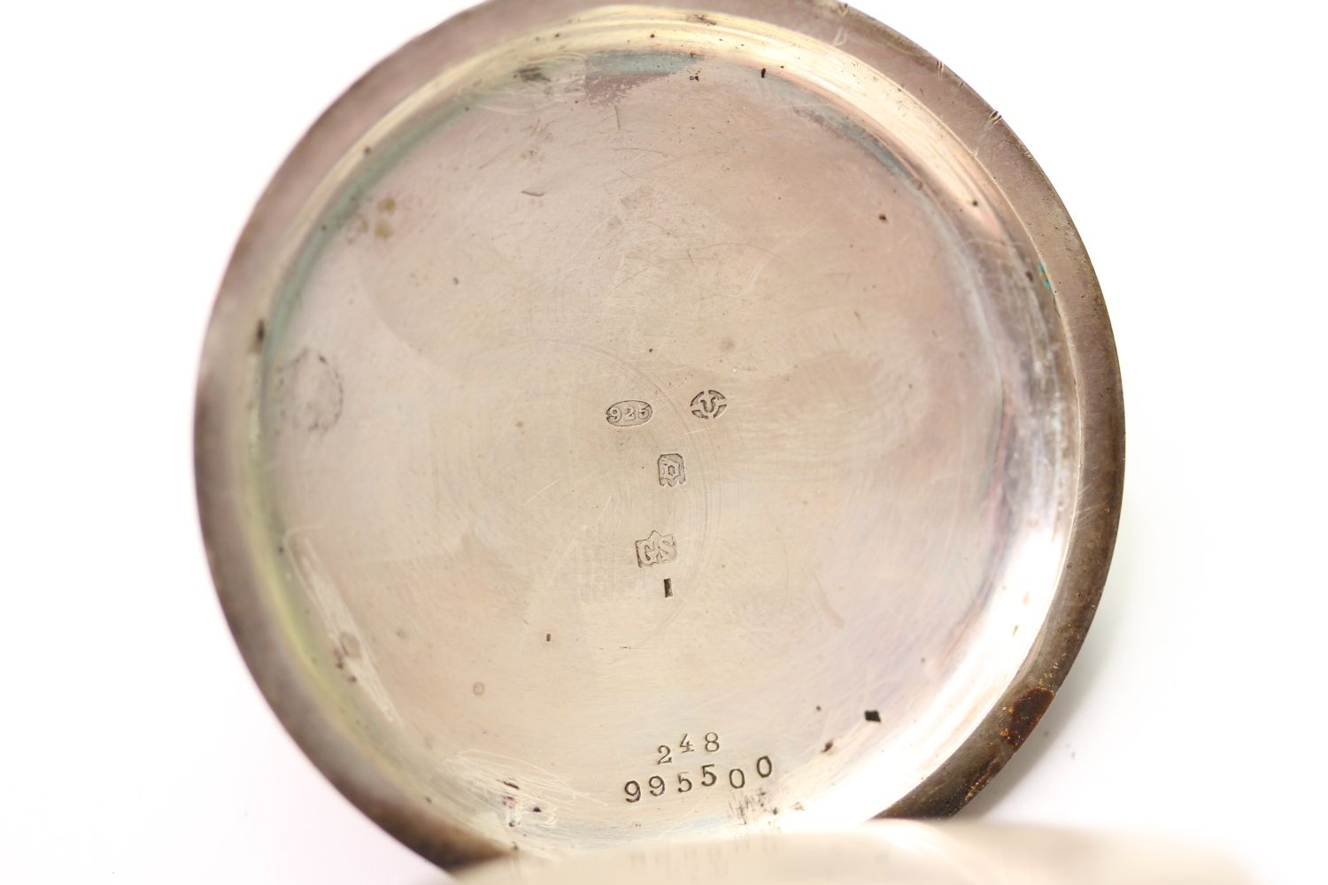 SILVER THO'S RUSSELL & SON POCKET WATCH & ALBERT CHAIN, circular white dial with arabic numbers, - Image 6 of 6