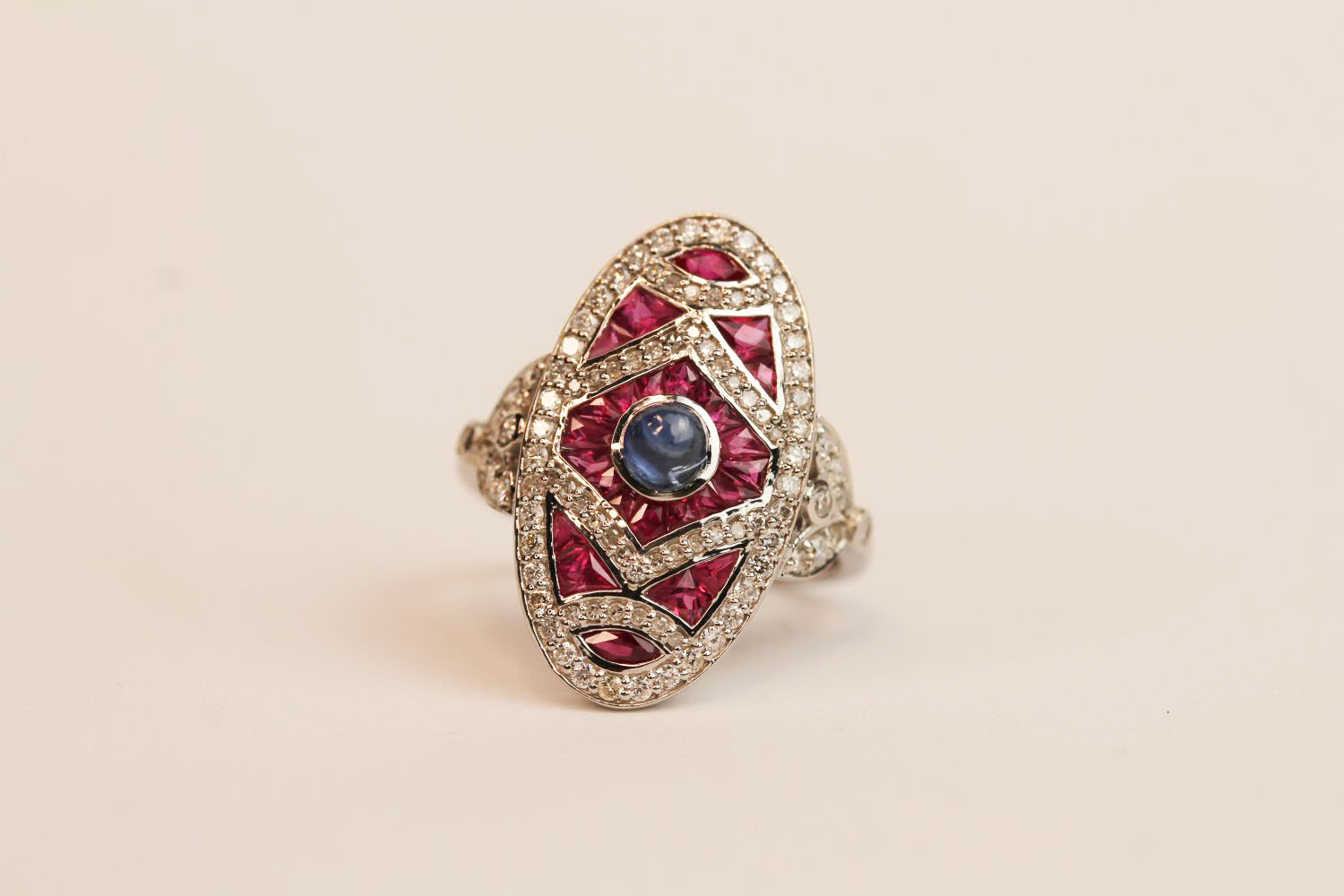 18ct white gold and platinum large Art Deco-style ruby and diamond ring with cabochon sapphire, ring