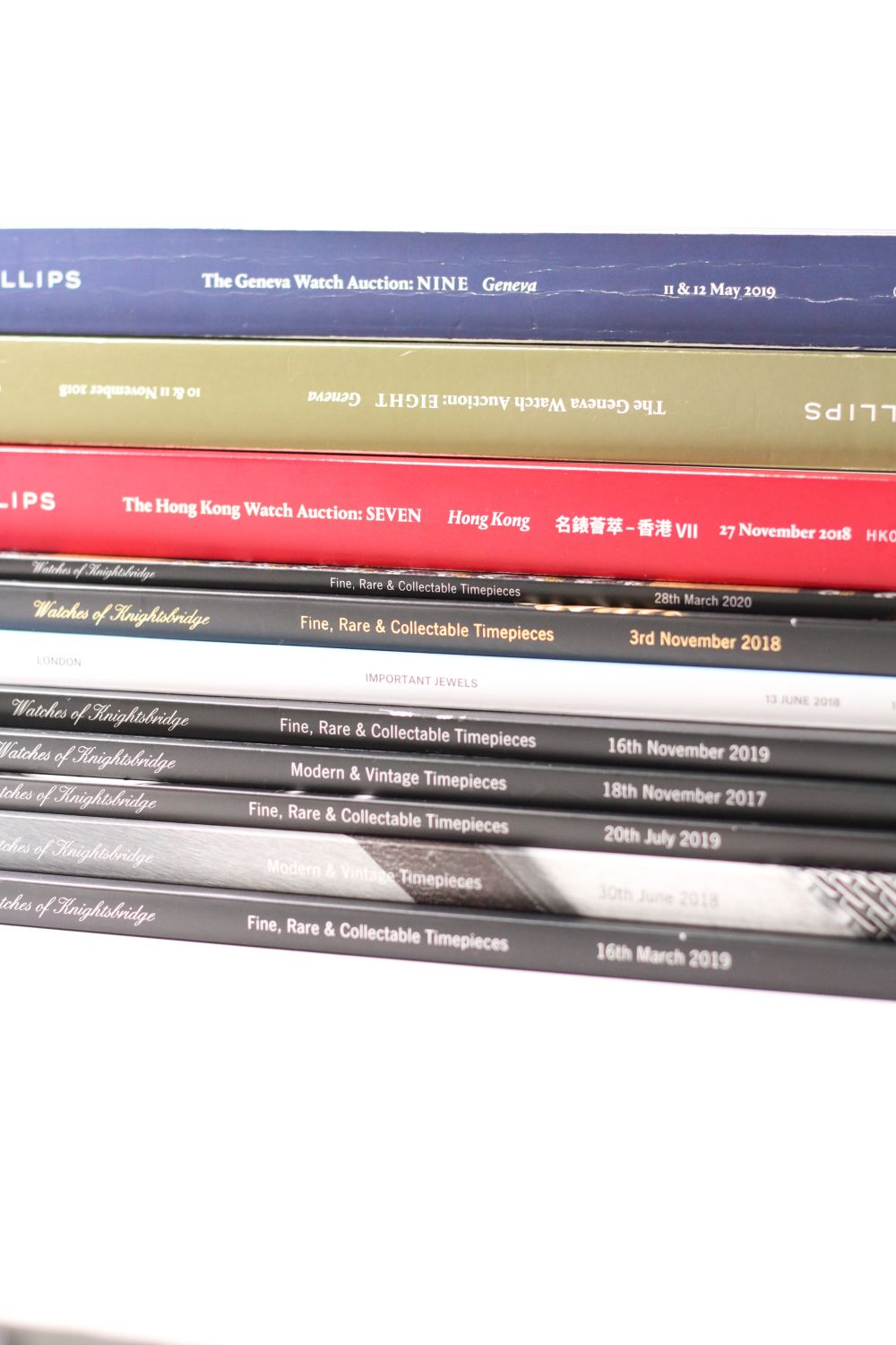 A collection of watch catalogues from Philips (3), Watches of Knightsbridge (7) and Christies (1)
