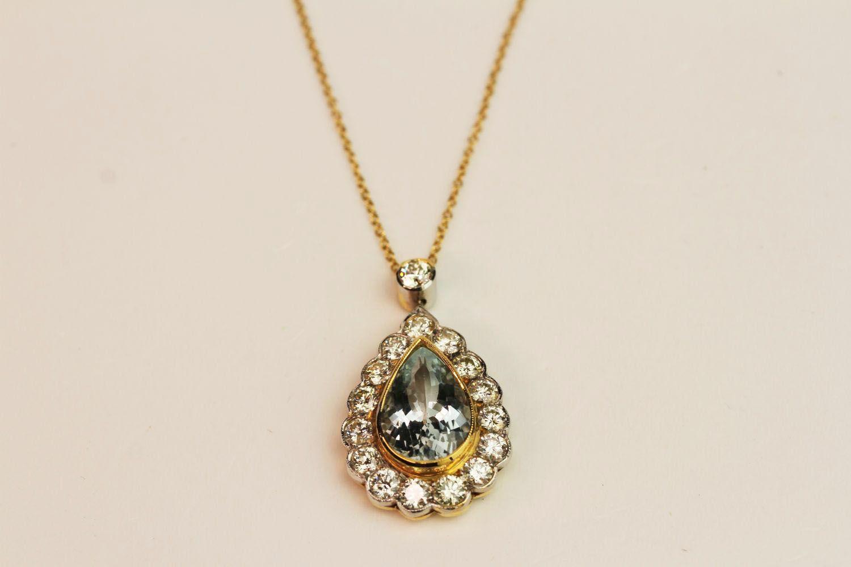 Teardrop Aquamarine & Diamond Pendant, central aqu