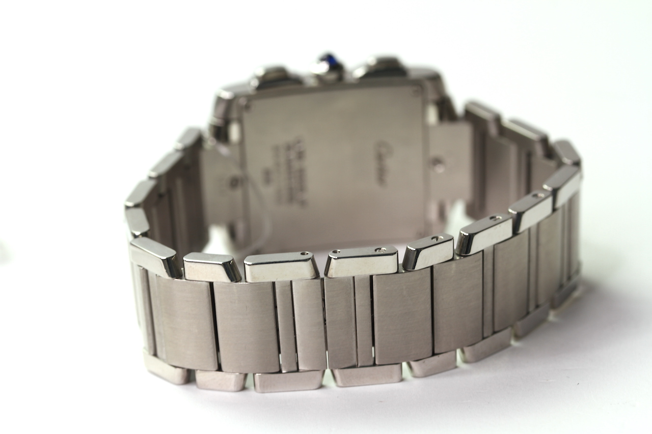 CARTIER TANK CHRONOGRAPH QUARTZ WRIST WATCH REFERENCE 2303, rectangular white dial with roman - Image 3 of 3