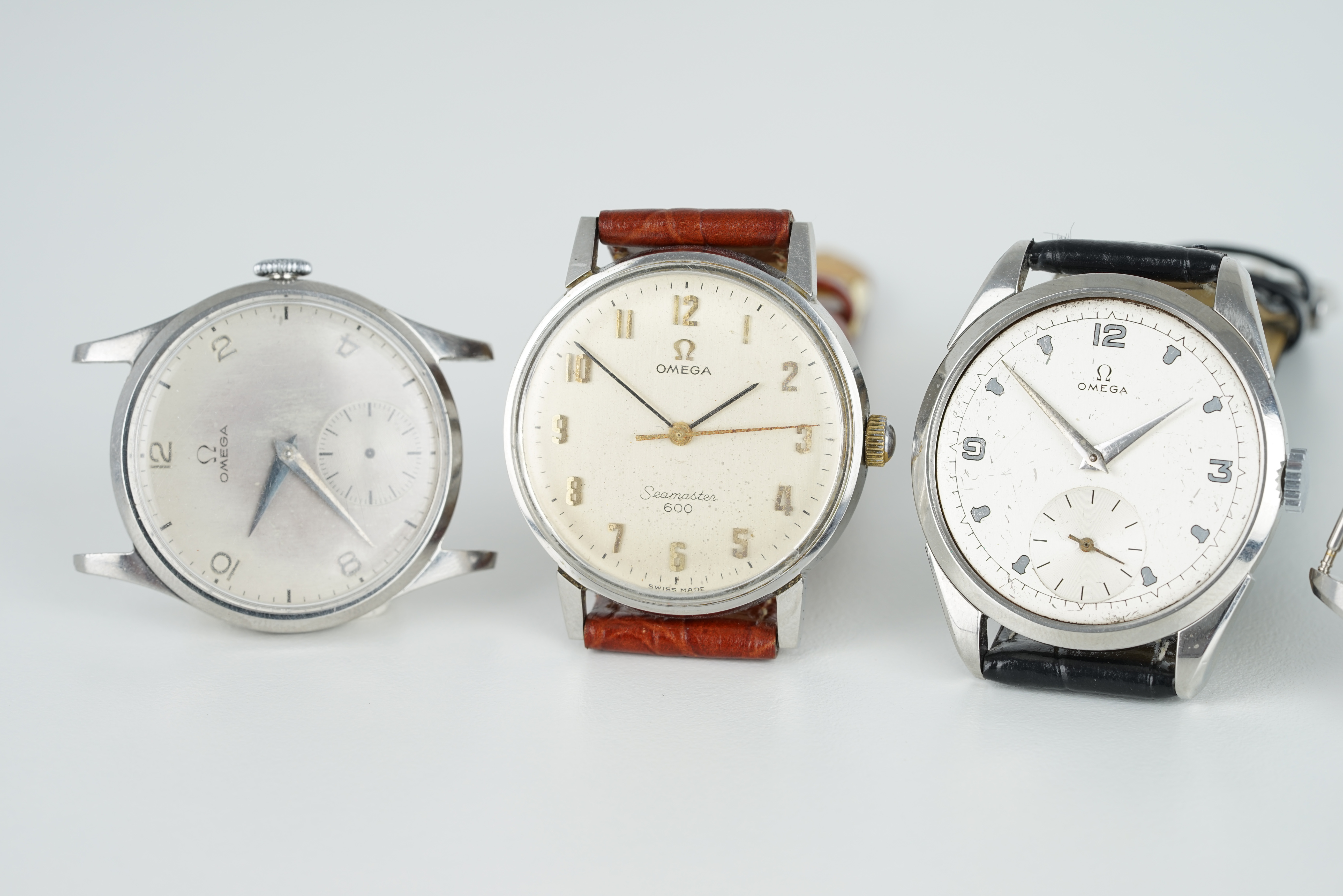 GROUP OF 4 OMEGA WRISTWATCHES, all stainless steel cases with manually wound movements inside, all - Image 2 of 3
