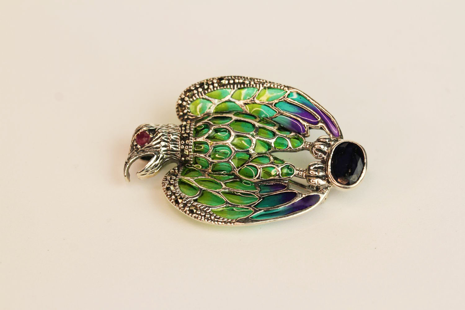 Silver plique-à-jour eagle brooch/pendant with sapphire, ruby eye, marcasites and enamel, - Image 2 of 3