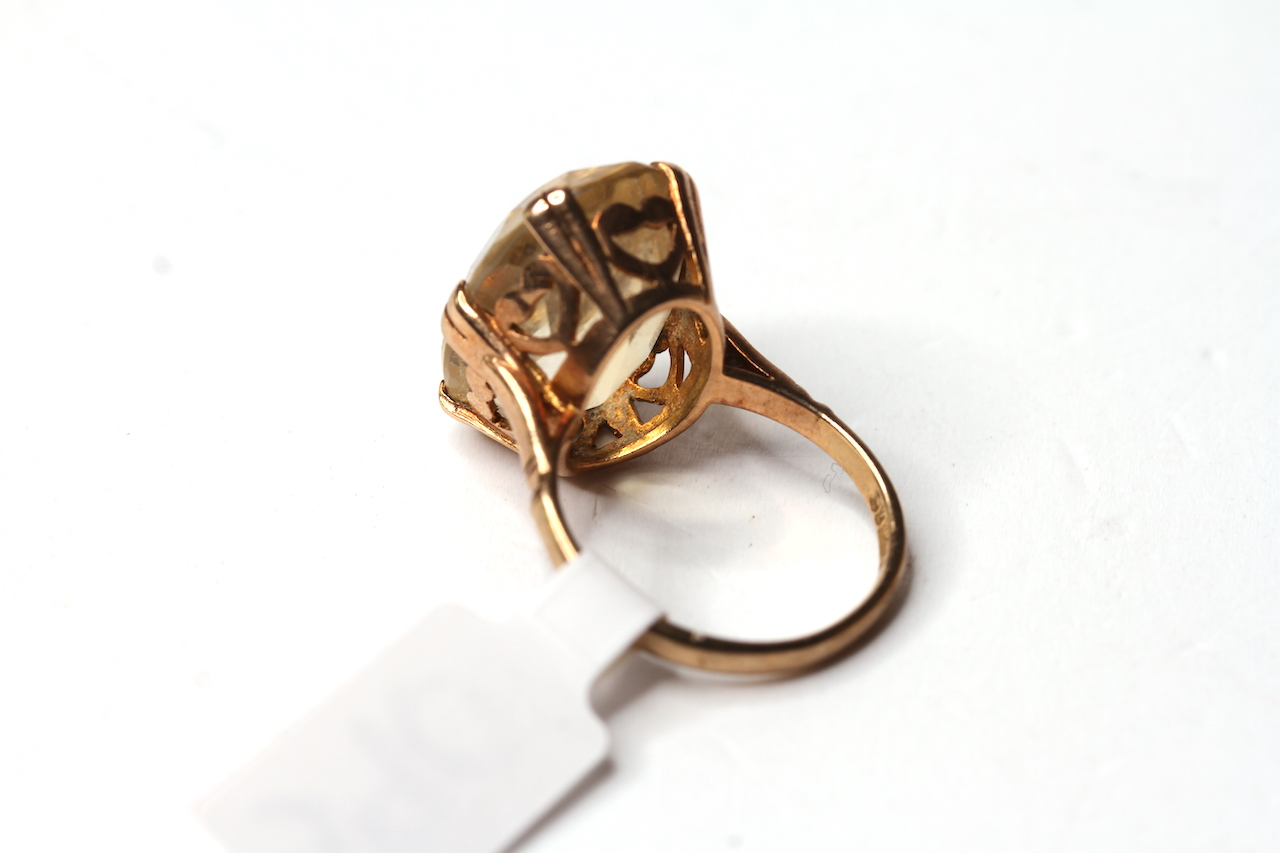 Vintage 9ct Citrine Set Ring, 18x13 oval cut citrine, 9ct mount, approximately 5.6g gross - Image 2 of 2