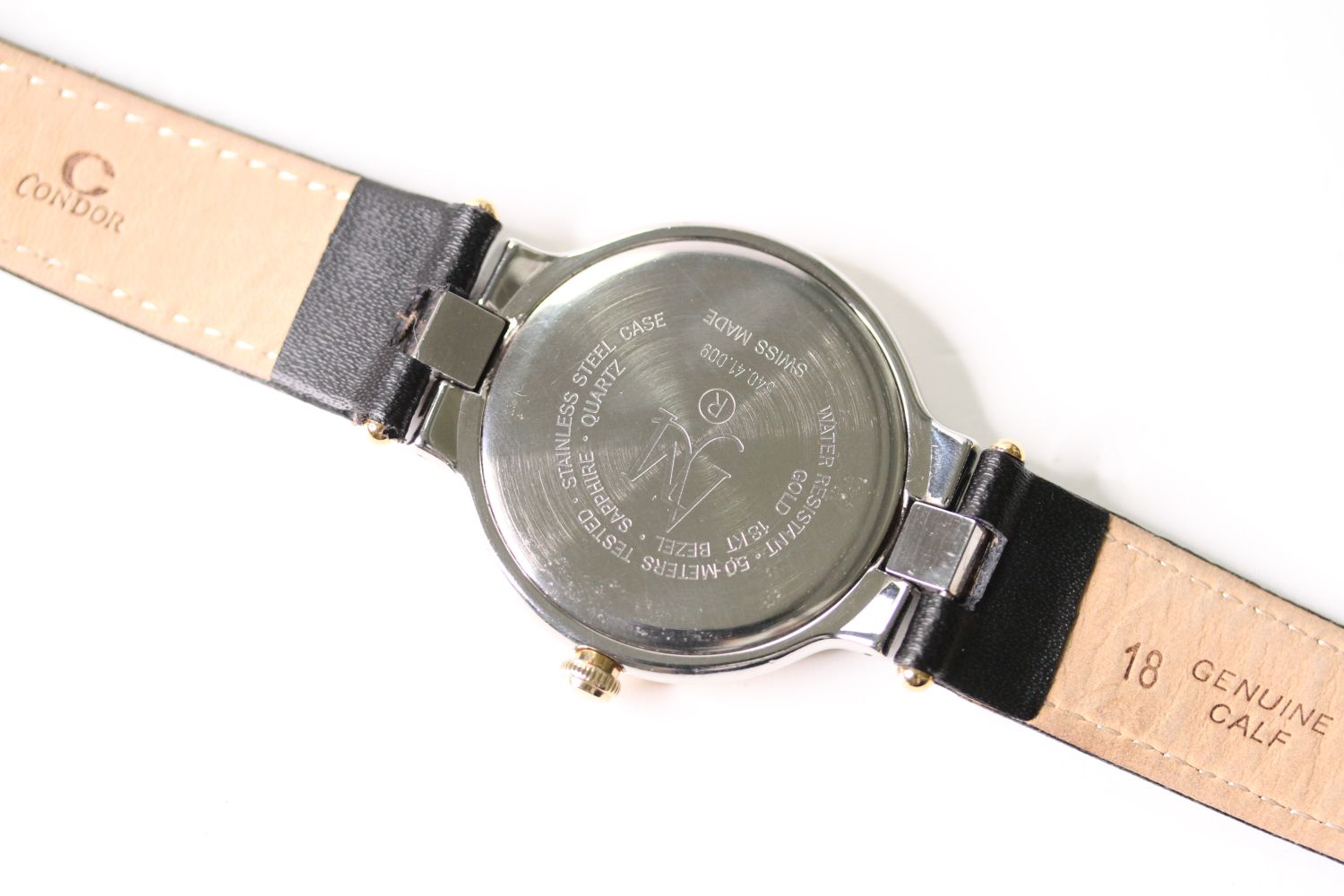 ANDRE LE MARQUAND HUNTER WRIST WATCH, circular black dial with gold arabic numeral hour markers, - Image 2 of 2