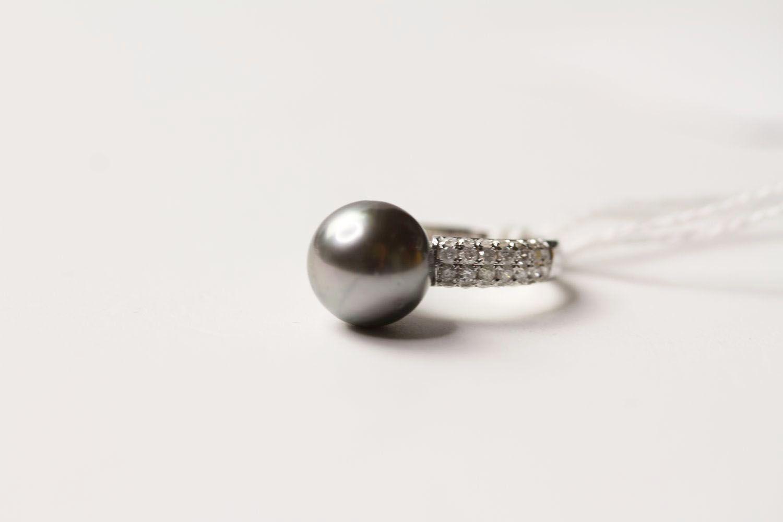 Tahitian Pearl & Diamond Ring, set with a cultured tahitian pearl, 56 round brilliant cut diamonds