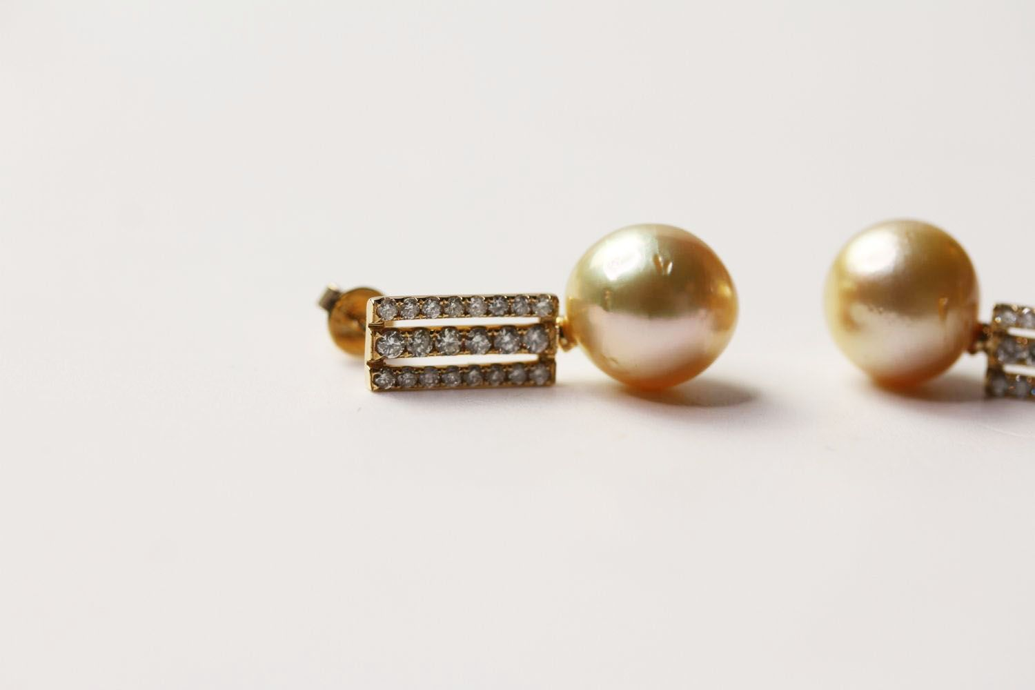 Pair Of Pearl & Diamond Earrings, set with 2 cultured south sea pearls, 44 round brilliant cut - Image 2 of 3
