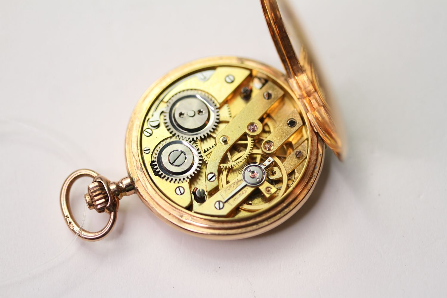 14CT GOLD FOB WATCH, circular white dial with arabic numbers, 31mm case, stamped J.G.F. 585 33523, - Image 4 of 4