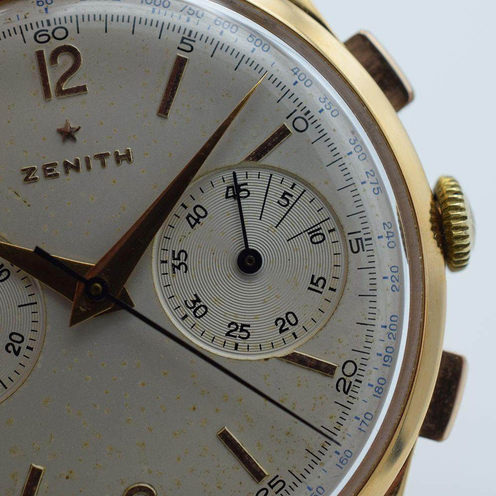 GENTLEMAN'S OVERSIZED ZENITH CHRONOGRAPH 156D, 18CT PINK GOLD, REF. 19518, CIRCA 1954, 37MM, - Image 7 of 11