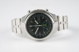 GENTLEMENS SEIKO HELMET CHRONOGRAPH WRISTWATCH, circular black dial with stick and arabic numeral