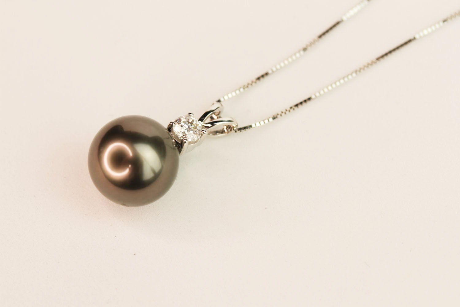 9ct white gold Tahitian black pearl pendant with diamond bale on a 10ct white gold chain, boxed. - Image 2 of 2