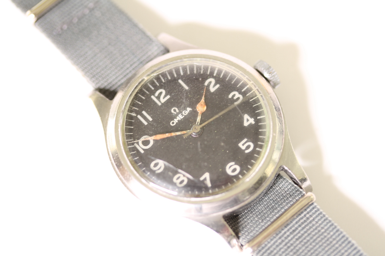 1956 MILITARY OMEGA AIR MINISTRY 6B/159 WITH PERIOD NATO STRAP, circular black dial with arabic