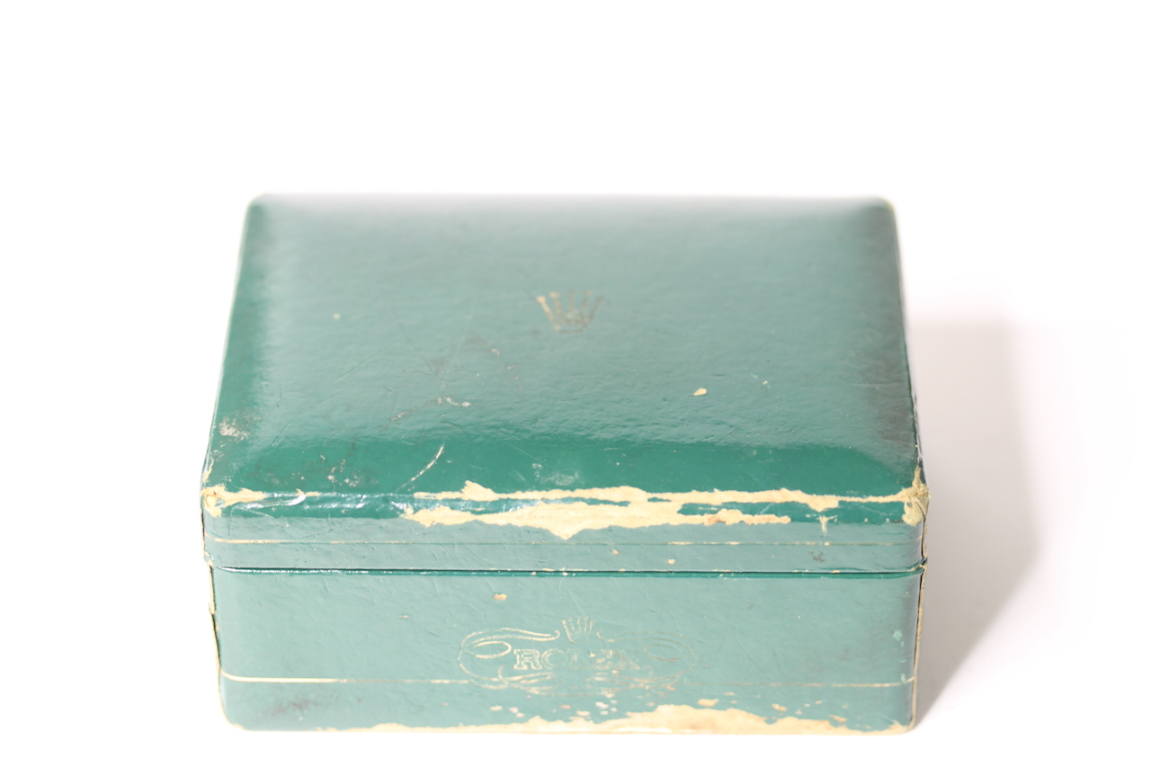 1950s ROLEX WATCH BOX, green Rolex watch box, sports model box, worn condition, comes with watch