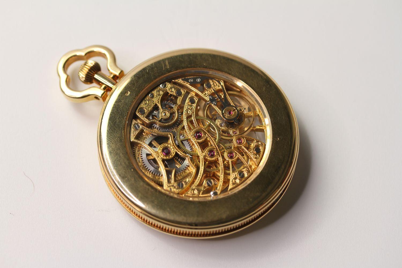 VINTAGE 18CT PIAGET SKELETON POCKET WATCH PERPETUAL CALENDAR, circular white skeleton dial with - Image 2 of 3