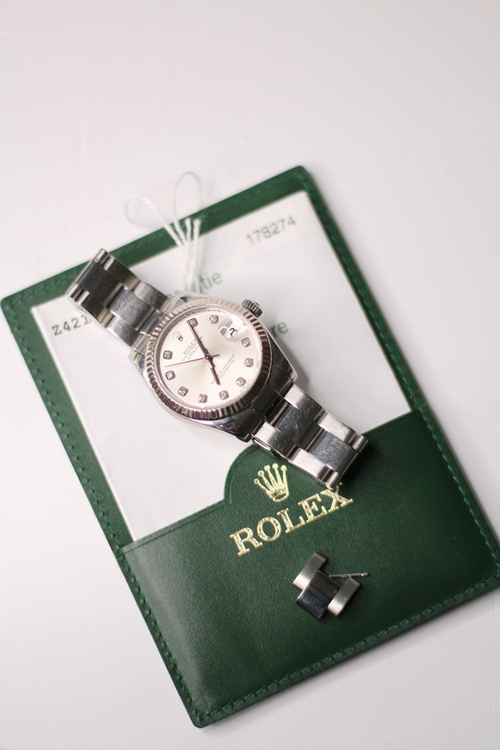 ROLEX DIAMOND DIAL DATEJUST WRISTWATCH REF 178274 W/PAPERS, circular silver dial with diamond hour - Image 2 of 5
