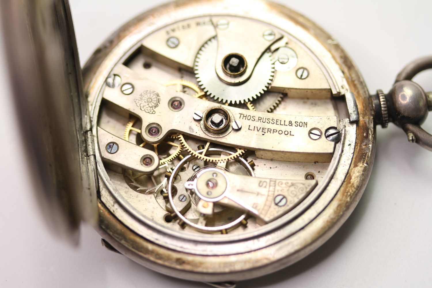 SILVER THO'S RUSSELL & SON POCKET WATCH & ALBERT CHAIN, circular white dial with arabic numbers, - Image 5 of 6
