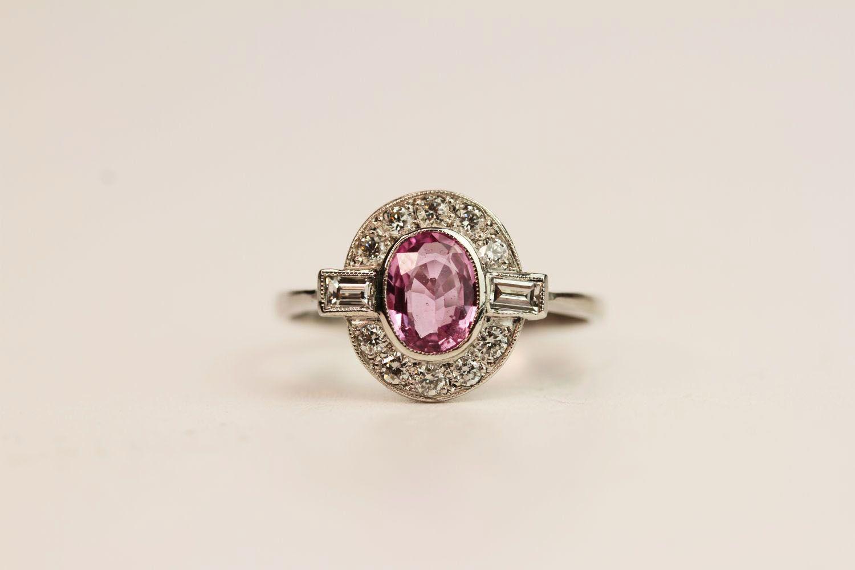 Oval Pink Sapphire & Diamond Ring, platinum, pink