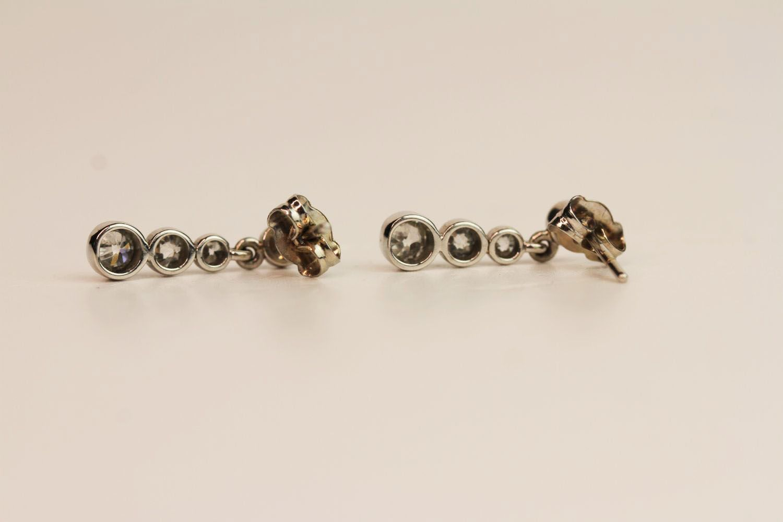 Pair of Diamond Drop Earrings, bezel set diamonds - Image 2 of 2