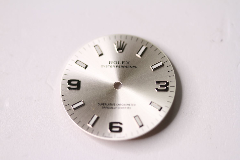ROLEX OYSTER PERPETUAL 3,6 & 9 SUNBURST DIAL, circular sunburst silver dial with applied baton