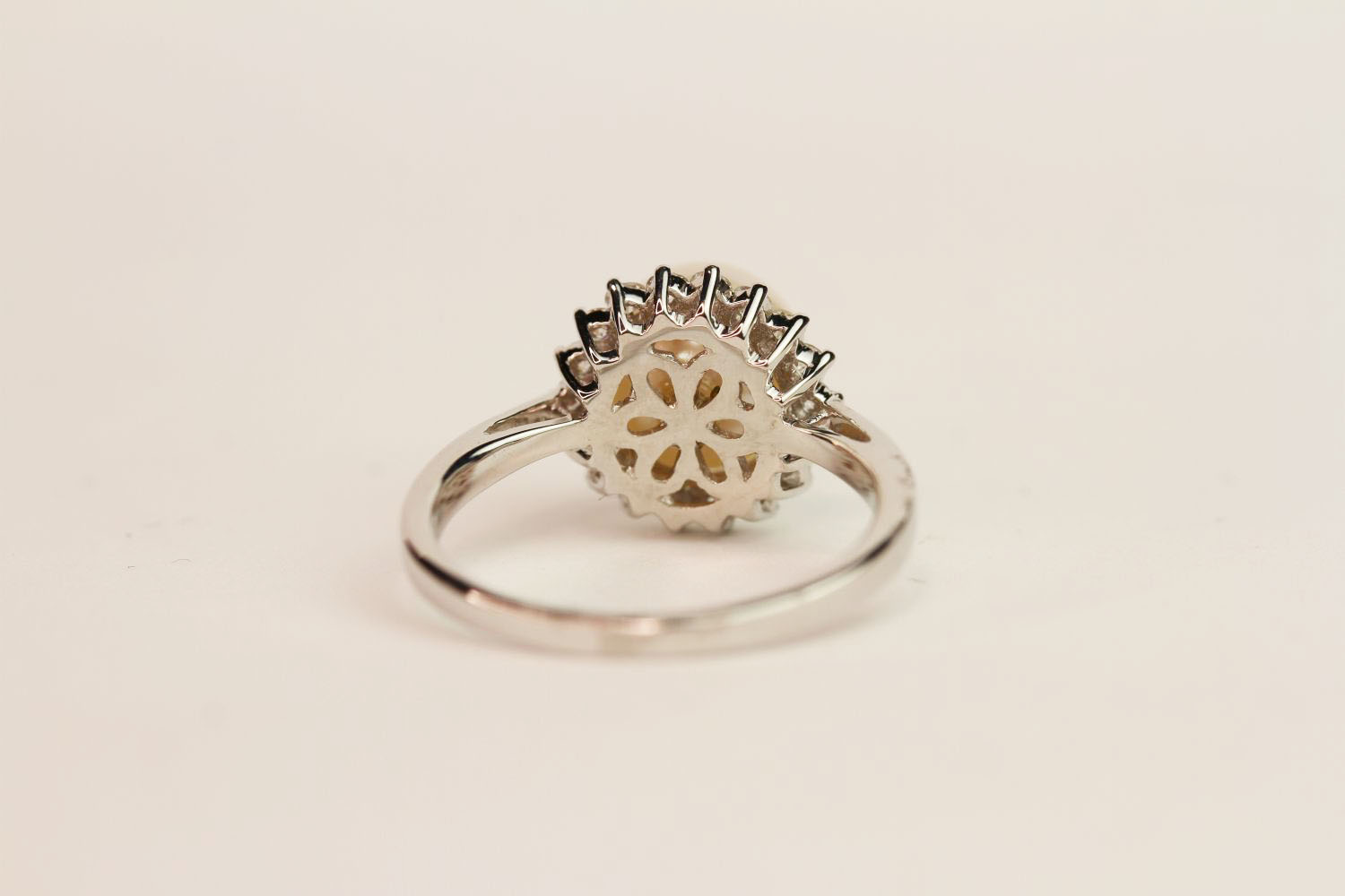 9ct white gold pearl and diamond halo ring. Diamonds 0.37ct, ring size N1/2. - Image 3 of 3