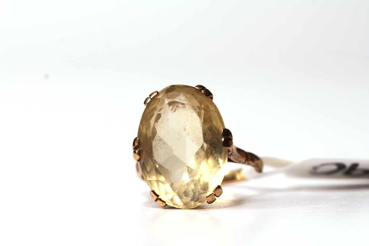 Vintage 9ct Citrine Set Ring, 18x13 oval cut citrine, 9ct mount, approximately 5.6g gross