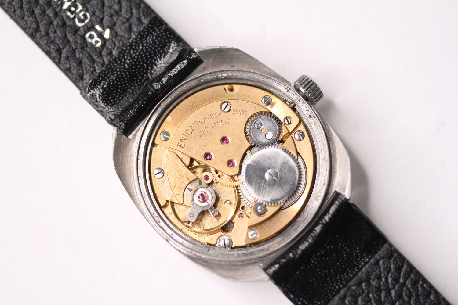 *TO BE SOLD WITHOUT RESERVE* ENICAR STAR JEWELS AUTOMATIC WRISTWATCH, circular cream dial with - Image 4 of 4