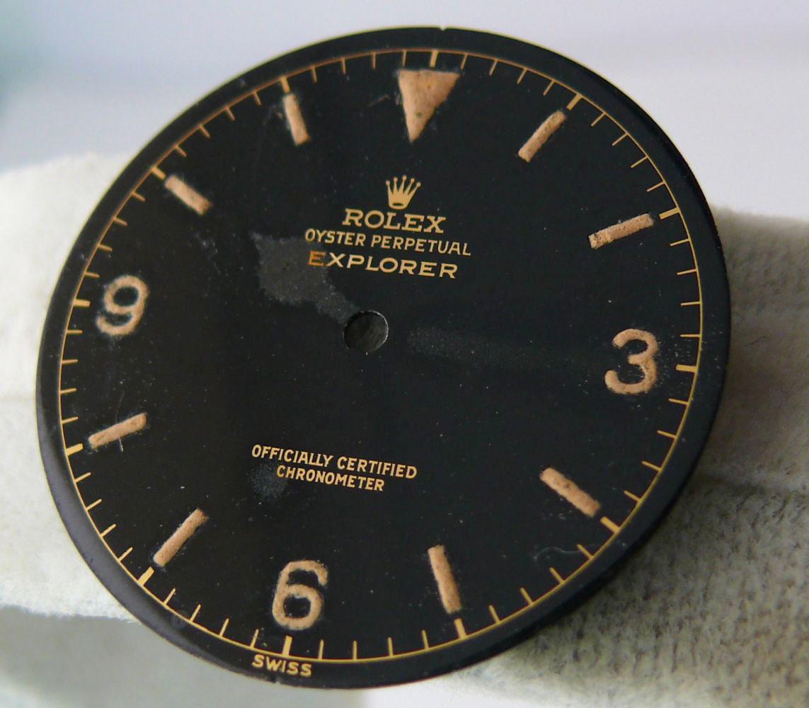 1950s Rolex Gents Explorer Dial Ref 6610, genuine 1950s rolex explorer dial showing some radium burn - Image 3 of 8