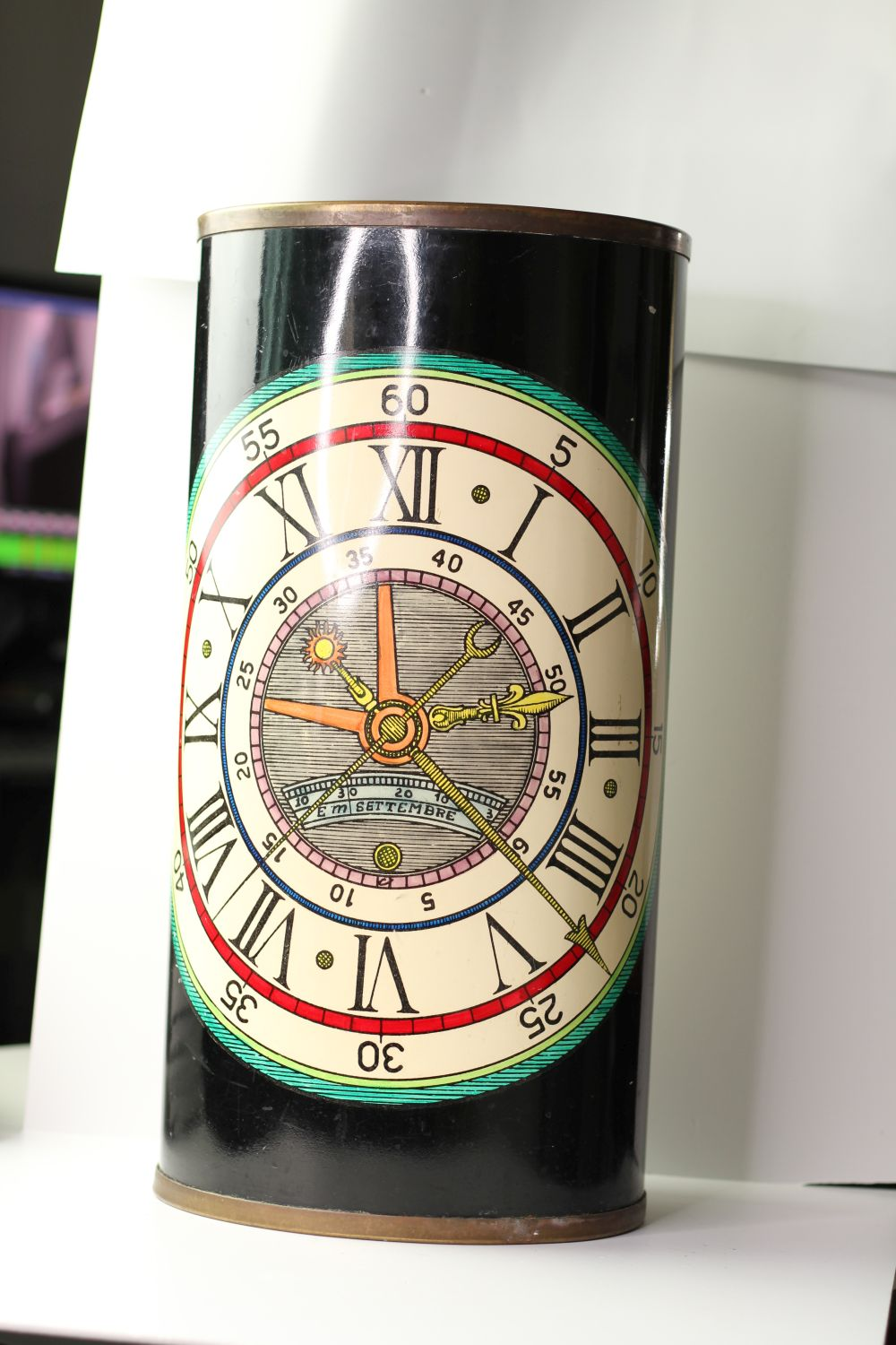 Vintage Fornasetti umbrella stand, lacquer finish with watch face design, sticker to base, - Image 3 of 4