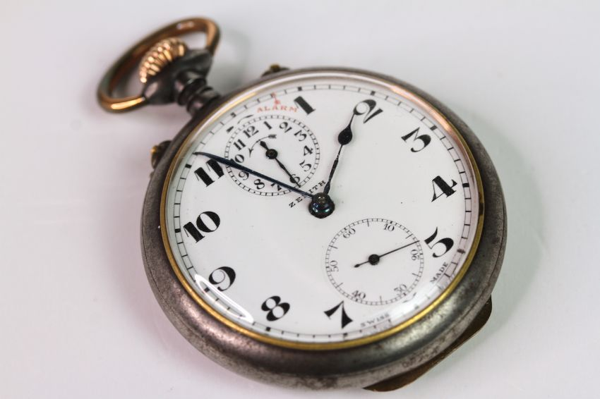 VINTAGE ZENITH ALARM POCKET WATCH, circular white dial with arabic numeral hour markers, subsidary