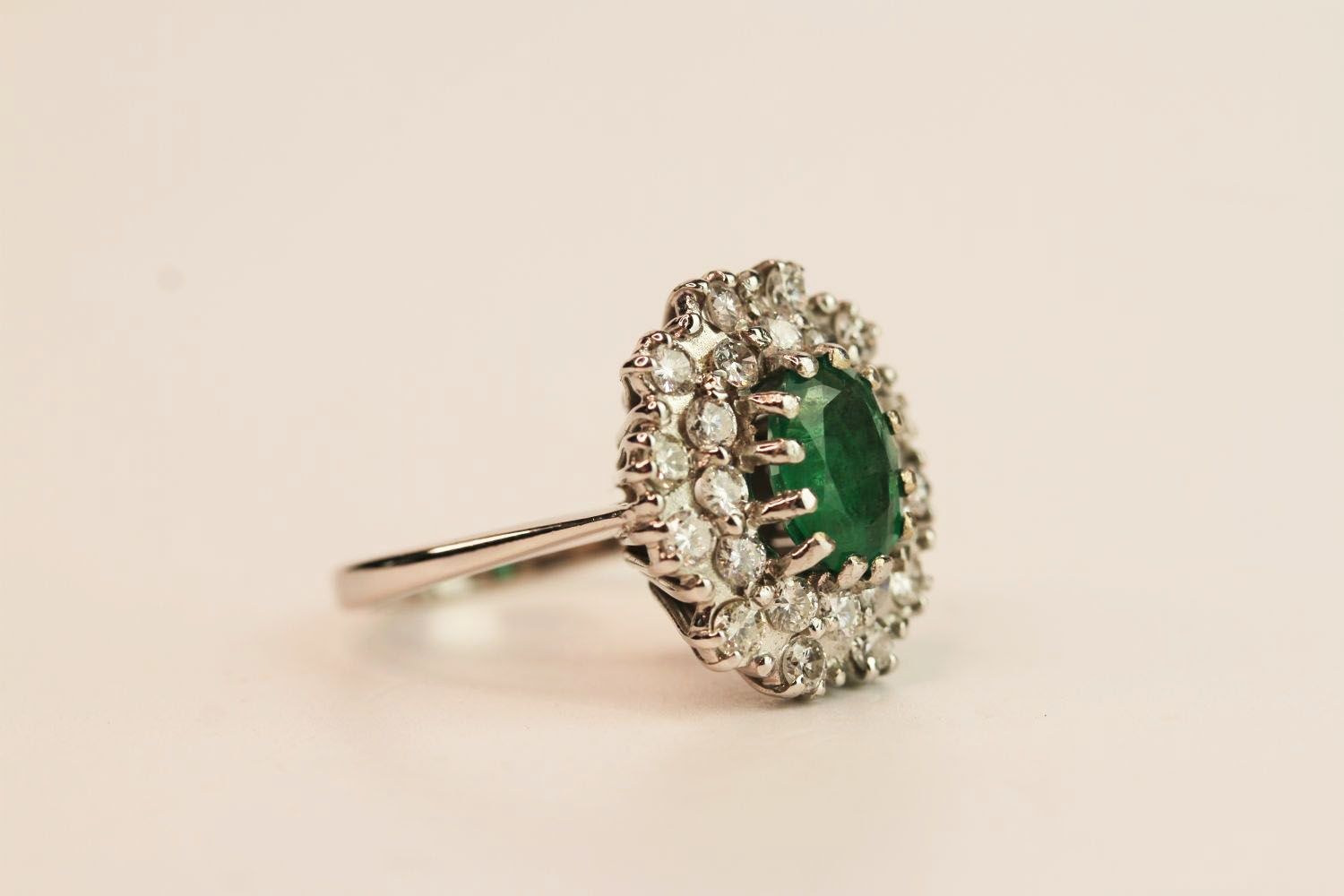 Emerald & Diamond Dress Ring, estimated 1.00ct oval cut emerald, claw set, 18ct white gold, - Image 2 of 3