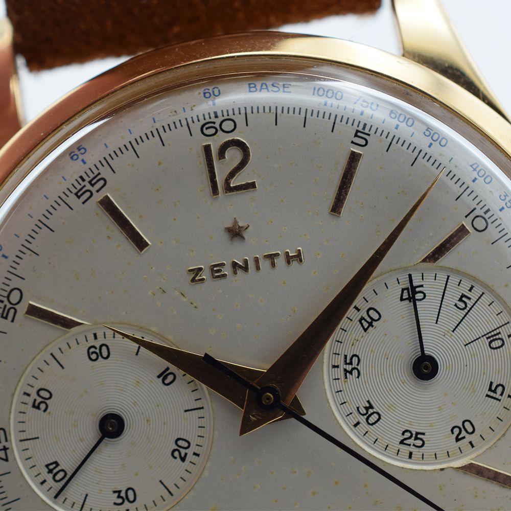 GENTLEMAN'S OVERSIZED ZENITH CHRONOGRAPH 156D, 18CT PINK GOLD, REF. 19518, CIRCA 1954, 37MM, - Image 6 of 11