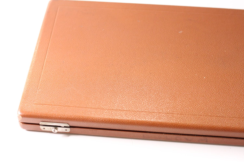 Vintage Oversized Omega Display Box, Tan Leather bound case, Velvet interior, approximately 46x25cm - Image 3 of 6