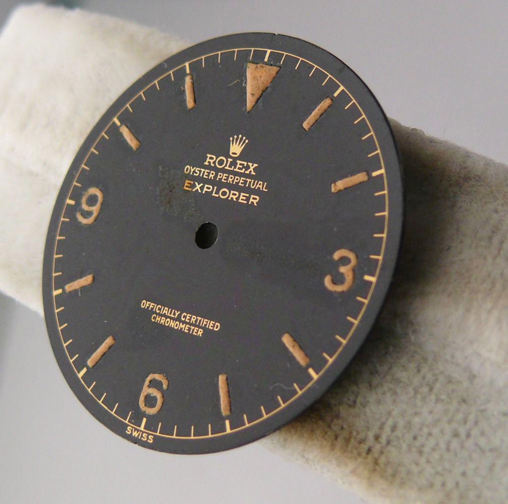 1950s Rolex Gents Explorer Dial Ref 6610, genuine 1950s rolex explorer dial showing some radium burn - Image 4 of 8