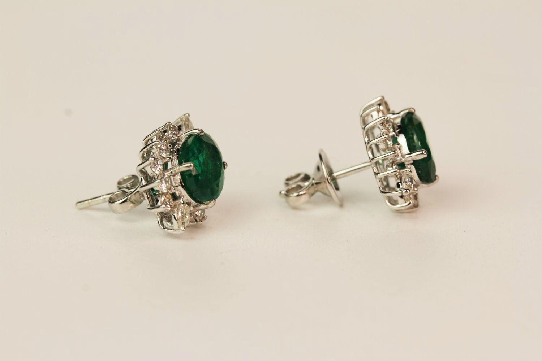 Pair Of Emerald & Diamond Earrings, set with round brilliant diamonds - Image 2 of 4