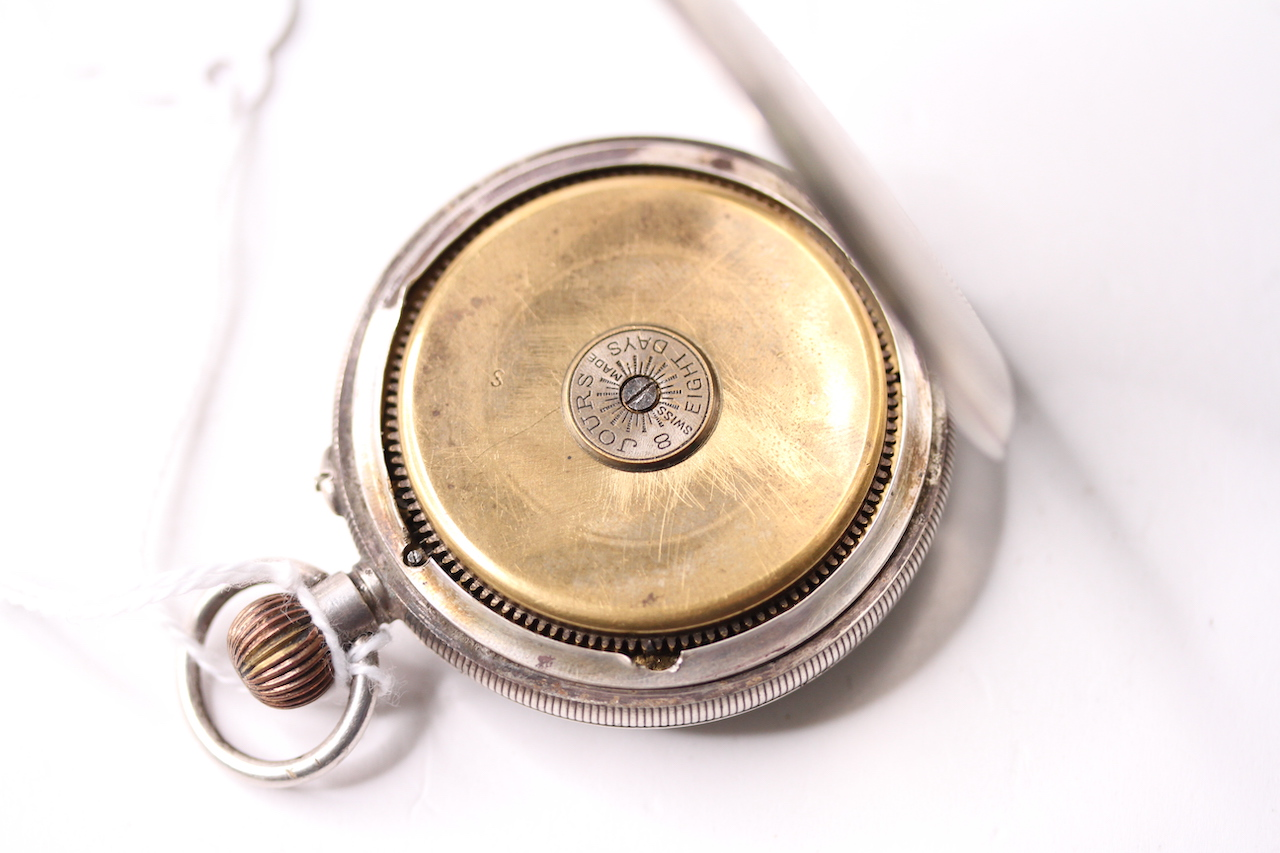 Silver 8 Day open faced pocket watch, porcelain demi dial, open work balance, silver case, stop/ - Image 3 of 4
