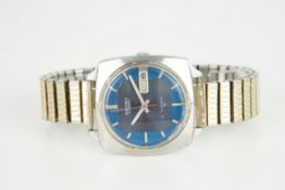 GENTLEMENS SEIKO AUTOMATIC DAY DATE WRISTWATCH, circular two tone dial with stick hour markers and
