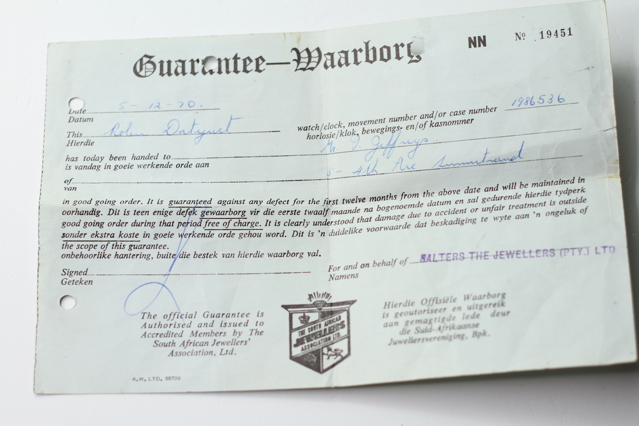ROLEX AND TUDOR PAPERS, two pieces of guarantee paperwork for a Rolex DateJust dated 1970, Tudor - Image 6 of 7