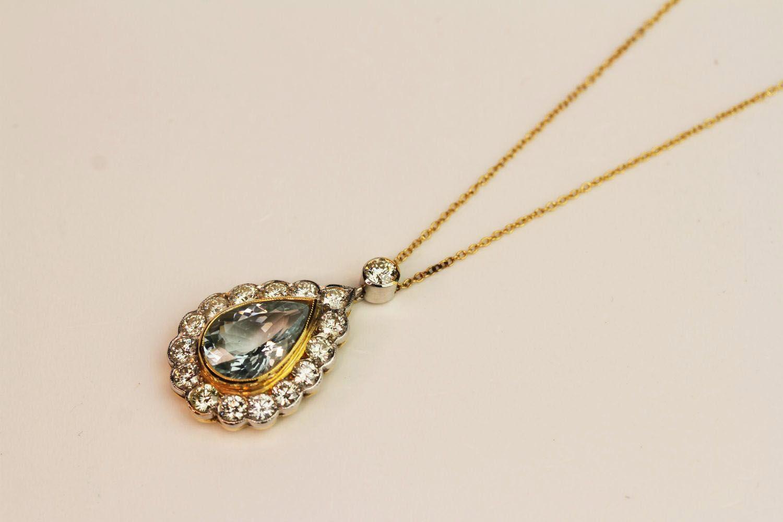 Teardrop Aquamarine & Diamond Pendant, central aqu - Image 3 of 3