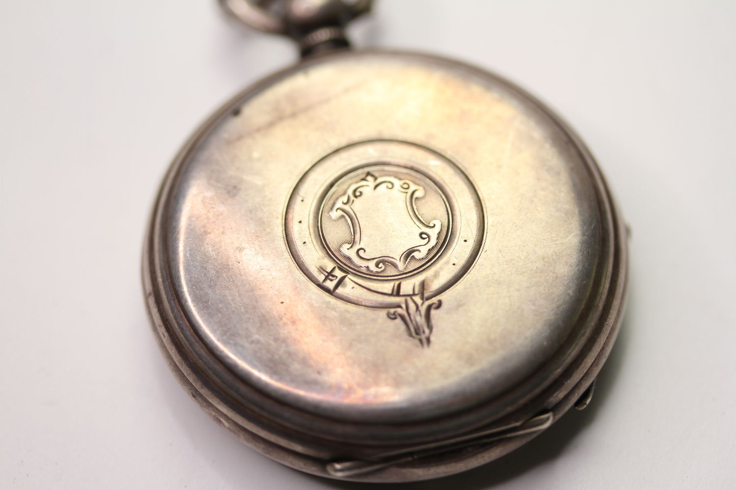 SILVER THO'S RUSSELL & SON POCKET WATCH & ALBERT CHAIN, circular white dial with arabic numbers, - Image 4 of 6