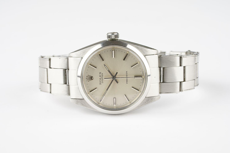 GENTLEMENS ROLEX OYSTER PRECISION WRISTWATCH REF. 6426 CIRCA 1966, circular silver dial with stick