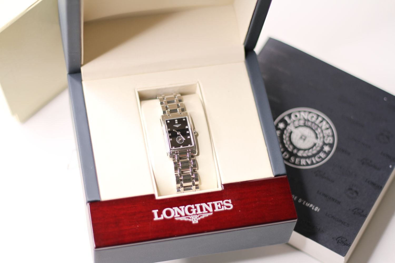 LONGINES DIAMOND DIAL DOLCE VITA WRISTWATCH REF L5.255.4 W/BOX & PAPERS, rectangular black dial - Image 2 of 3