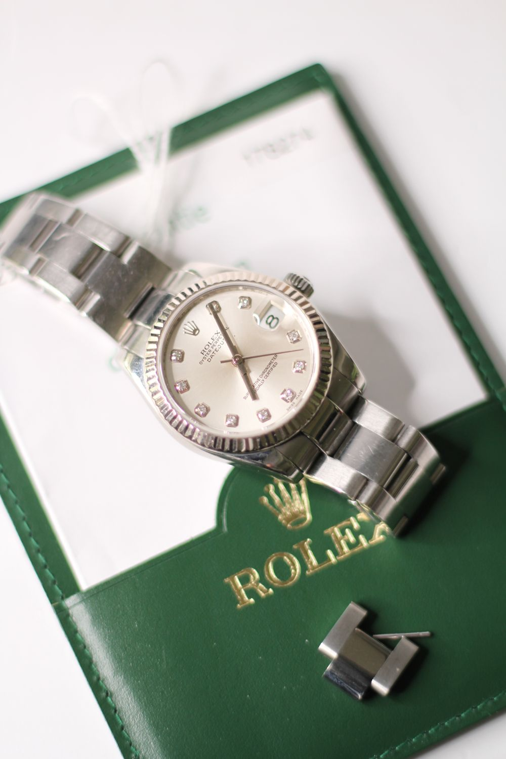 ROLEX DIAMOND DIAL DATEJUST WRISTWATCH REF 178274 W/PAPERS, circular silver dial with diamond hour - Image 4 of 5