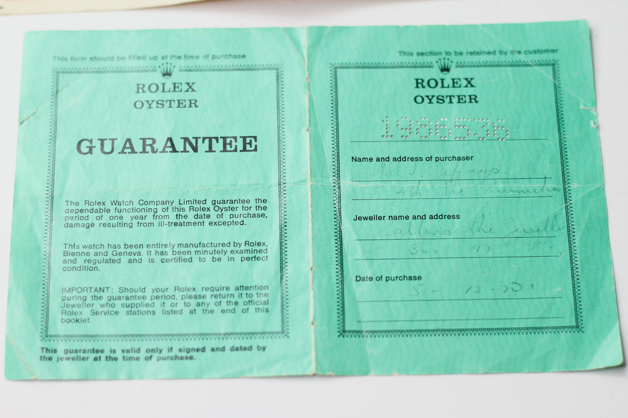ROLEX AND TUDOR PAPERS, two pieces of guarantee paperwork for a Rolex DateJust dated 1970, Tudor - Image 2 of 7