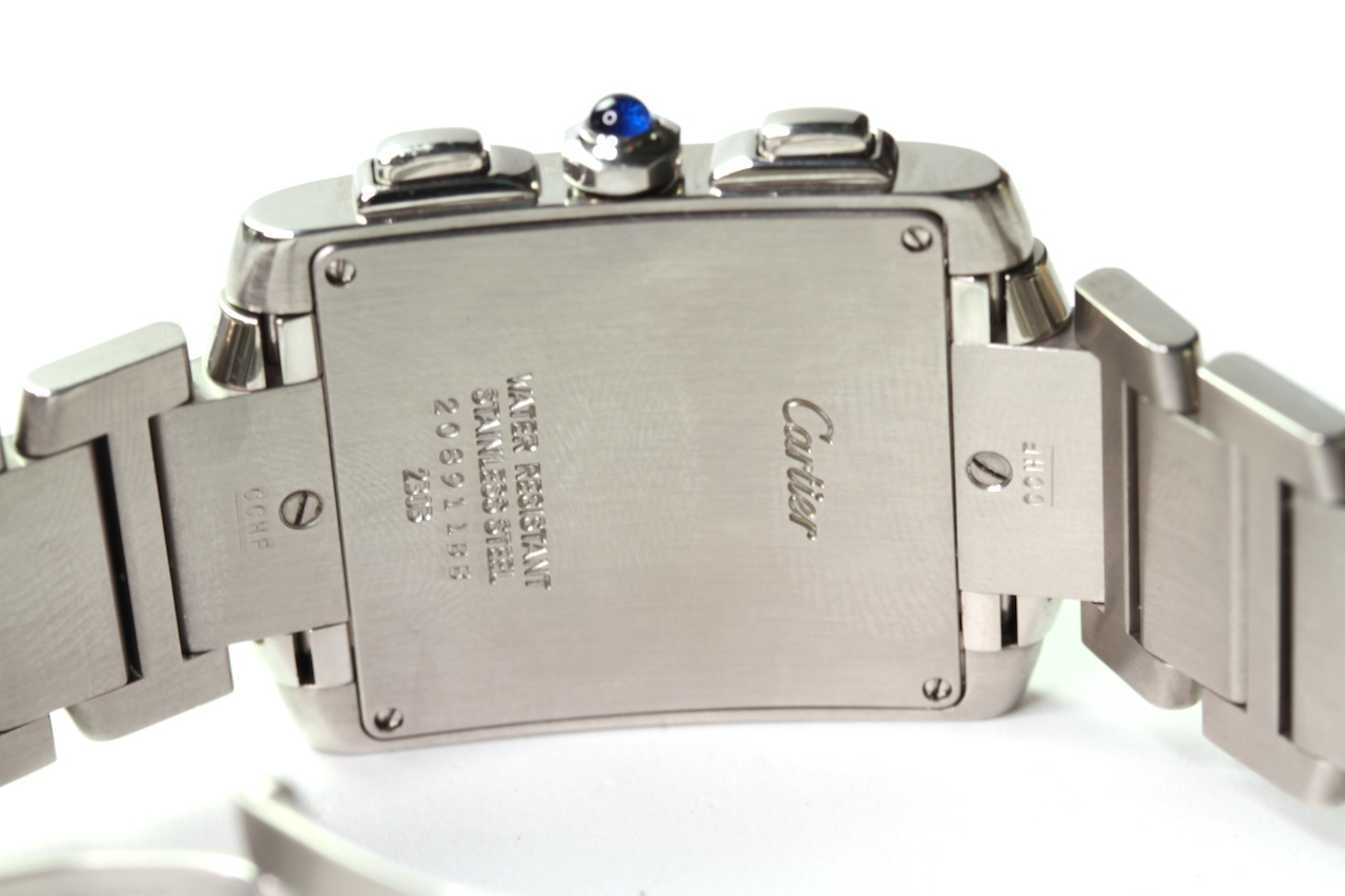 CARTIER TANK CHRONOGRAPH QUARTZ WRIST WATCH REFERENCE 2303, rectangular white dial with roman - Image 2 of 3