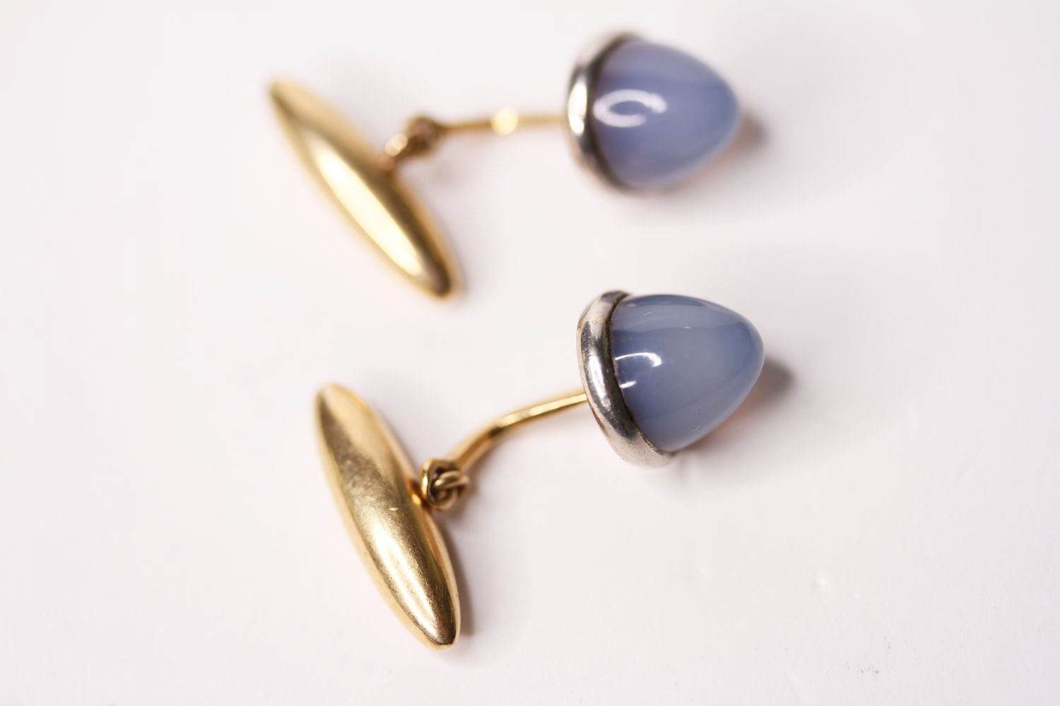 Pair Of Cabochon Chalcedony Cufflinks, each set with a cabochon cut chalcedony, 18ct gold - Image 2 of 2