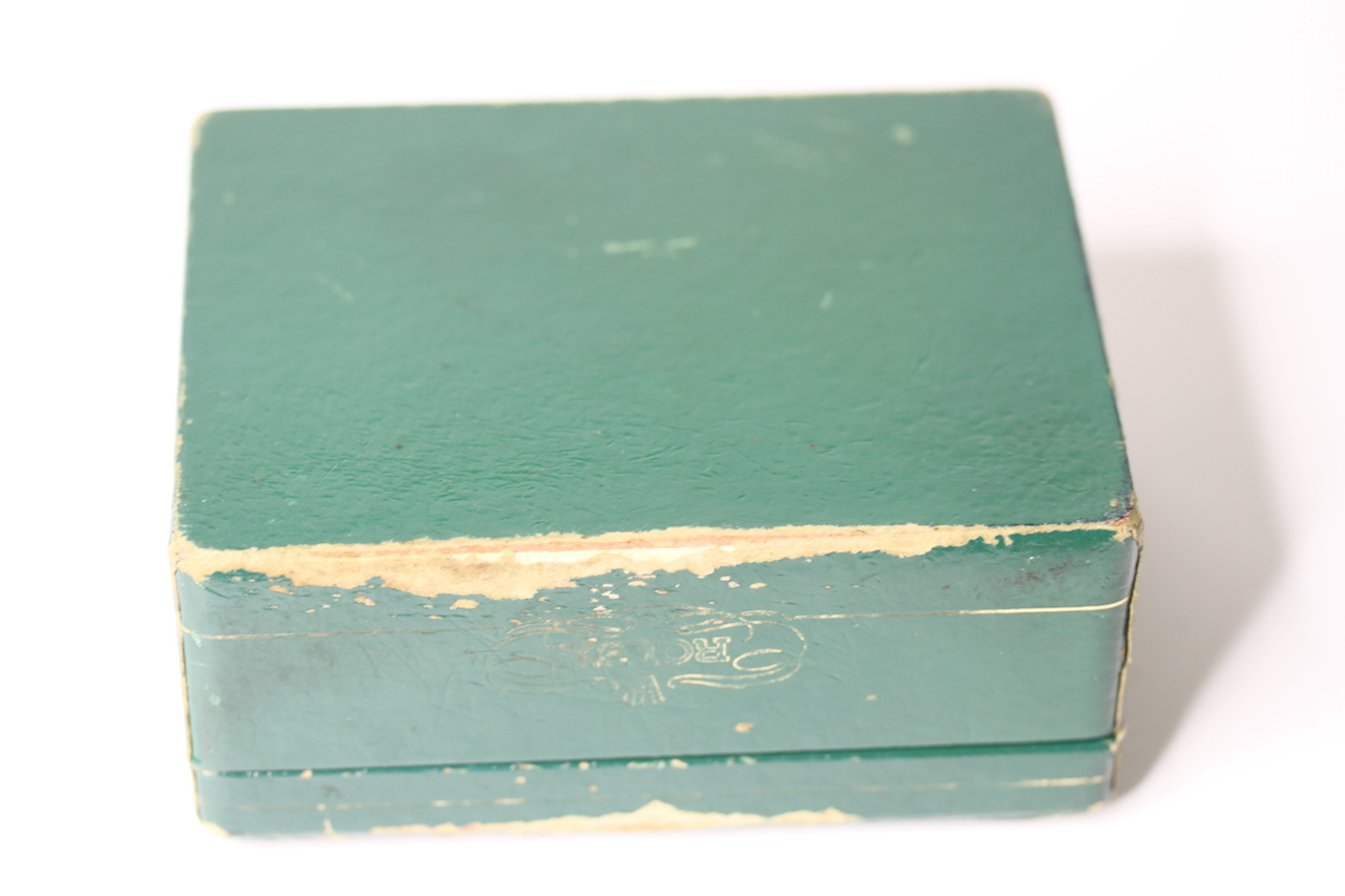 1950s ROLEX WATCH BOX, green Rolex watch box, sports model box, worn condition, comes with watch - Image 3 of 3