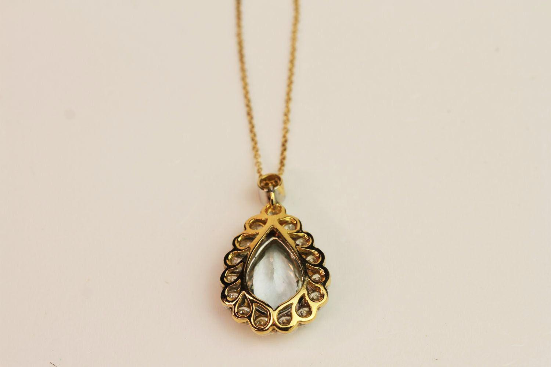 Teardrop Aquamarine & Diamond Pendant, central aqu - Image 2 of 3